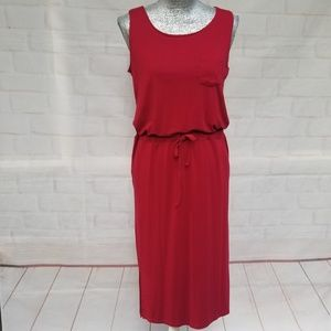 🌼 Tomsware Red Casual Sleeveless Dress w Pockets
